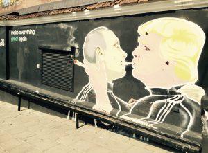 Graffiti in Vilnius mit Putin und Trump