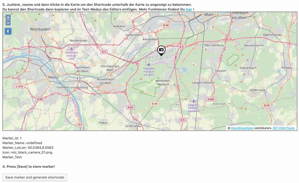 Wordpress Map OSM-Plugin Kartenausschnitt wählen