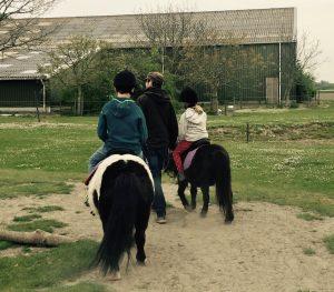 Ponyreiten während des Familienurlaubs in der Jurte