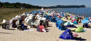 Strand mit Strandmuscheln im Seebad Göhren auf dem Mönchgut