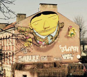 Streetart in Vilnius - bemalte Häuserfassade