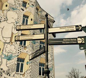 Streetart in Vilnius: Bemalte Hausfassade